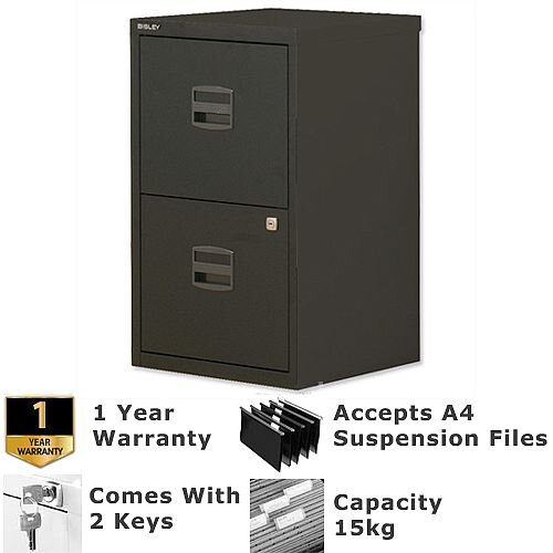 2 Drawer A4 Steel Filing Cabinet Lockable Black Bisley PFA Home Filers