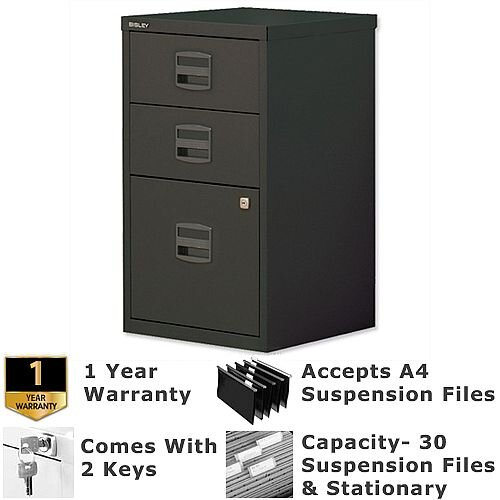 1 Filing &2 Stationery Drawer A4 Steel Filing Cabinet Lockable Black Bisley PFA Home Filers