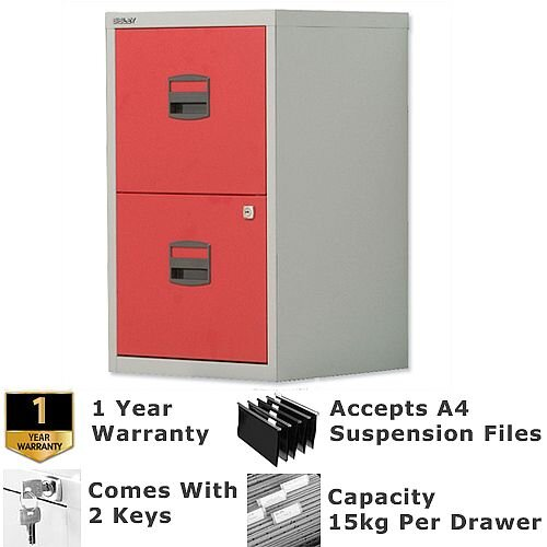 2 Drawer A4 Steel Filing Cabinet Lockable Grey &Red Bisley PFA Home Filers