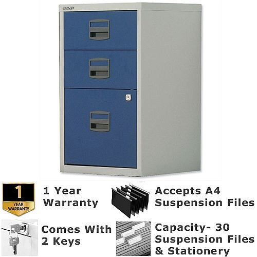 1 Filing &2 Stationery Drawer A4 Steel Filing Cabinet Lockable Grey &Oxford Blue Bisley PFA Home Filers