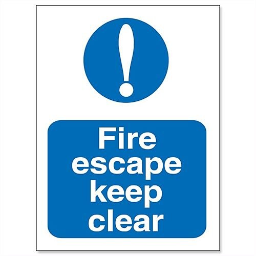 Fire exit keep clear self adhesive sign