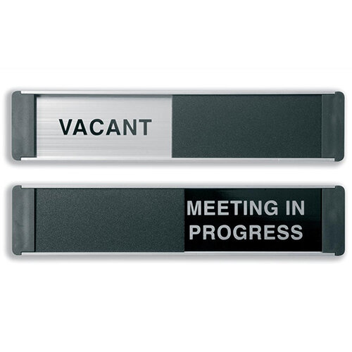 Sliding Sign Vacant and Meeting In Progress Self Adhesive 255x52mm