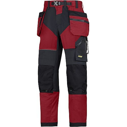 "Snickers 6902 FlexiWork Trousers With Holster Pockets Chill Red - Black W36"" L30"" Size 104 WW1"