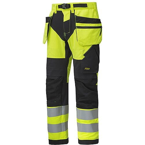 """Snickers 6932 FlexiWork High-Vis Work Trousers With Holster Pockets CL2 Hi Vis Yellow - Black W30"""" L30"""" Size 88 WW1"""