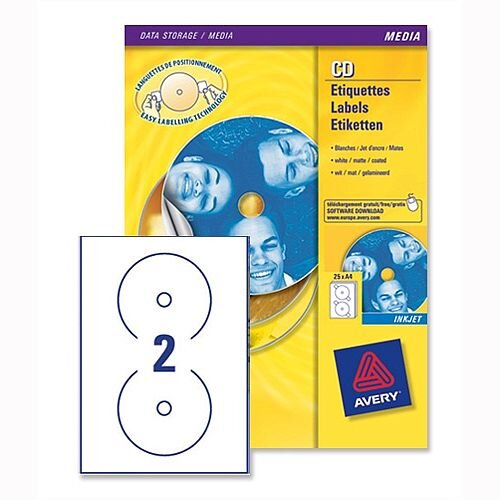 Avery J8676-100 CD DVD Inkjet Labels 2 per Sheet
