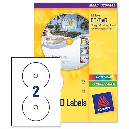 Avery CD DVD Labels Laser 2 per Sheet Photo Quality Glossy Colour L7760-25 50 Labels