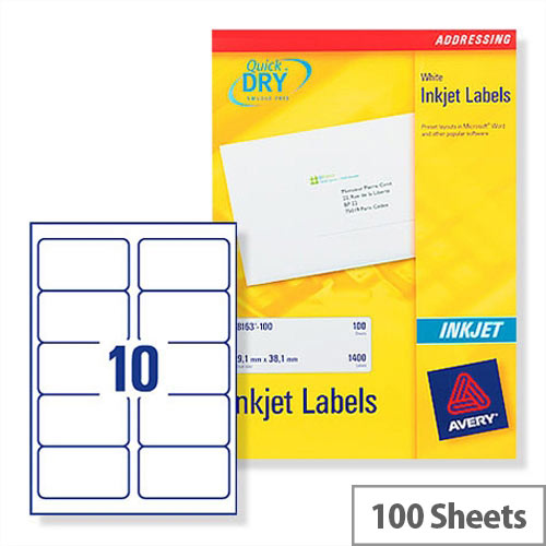avery quickdry inkjet label 10 per sheet pack of 100 buy online at