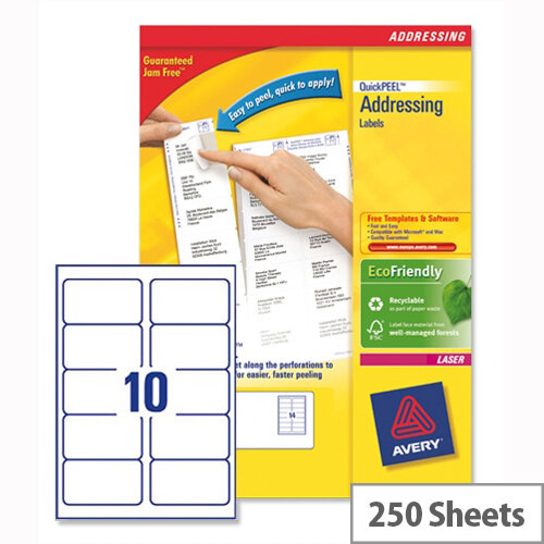 Avery L7173-250 Address Labels Laser 10 per Sheet 99.1x57mm White 2500 Labels