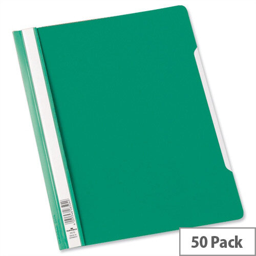 Durable Clear View Plastic Folder with Index Strip Extra Wide A4 Green 257005 Pack 50
