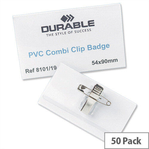 Durable Name Badges Combi Clip 54x90mm Pack 50 Ref 8101-19