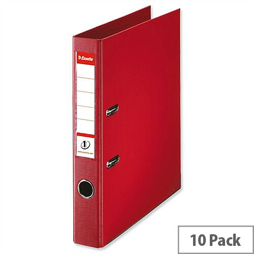 Esselte A4 Polypropylene 50mm Red Lever Arch File Pack of 10