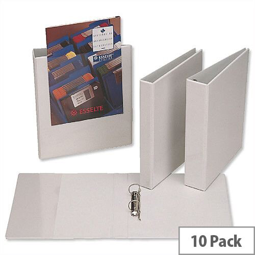 Esselte Presentation Ring Binder A4 White 25mm Size 2 D-Ring WH49708/49737 Pack 10