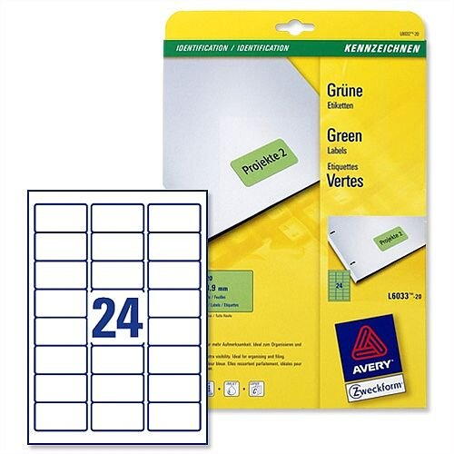 Avery Green Coloured Labels Laser 63.5x33.9mm 20 x 24 Labels (480 in Total) L6033-20
