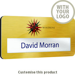 Metal Faced Name Window Badges 7054780 - Customise with your brand, logo or promo text