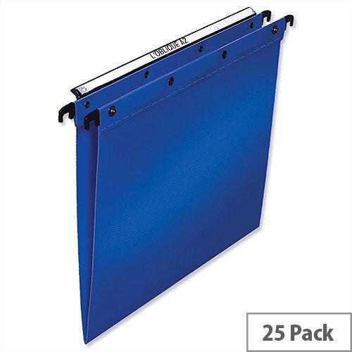 Elba Ultimate Vertical Foolscap Suspension File Polypropylene 15mm V Base Blue L380210 Pack 25