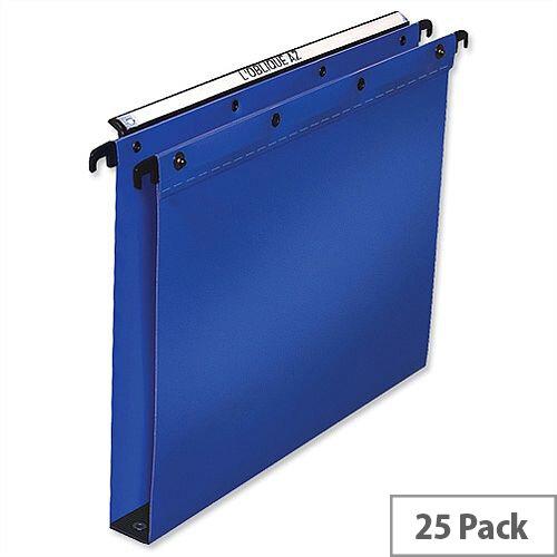 Elba Ultimate Vertical Suspension File Polypropylene 30mm Wide Base Foolscap Blue L380212 Pack 25