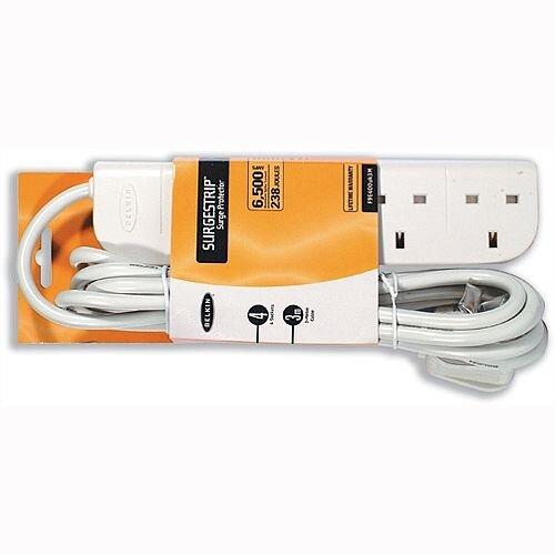 CONNEkT GEAR 4 WAY MAINS ELECTRICAL SOCKET 2M LEAD /& SURGE PROTECTOR 3 PIN UK