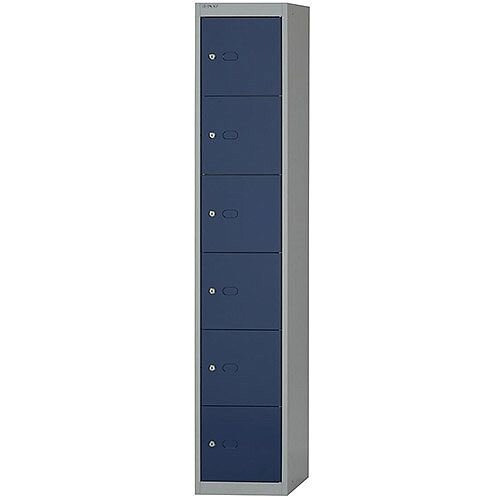 Bisley CLK126  H1802 x W305 x D305mm  Steel Locker with 6 Doors  Goose Grey/Blue  CLK126-7339