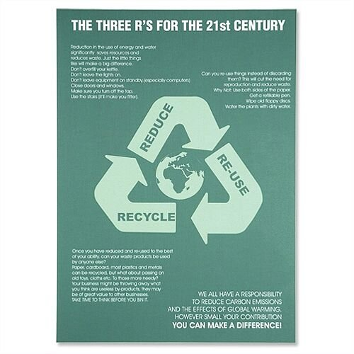 Sseco Reduce Reuse Recycle Poster Pvc W420xh595mm Huntoffice Ie