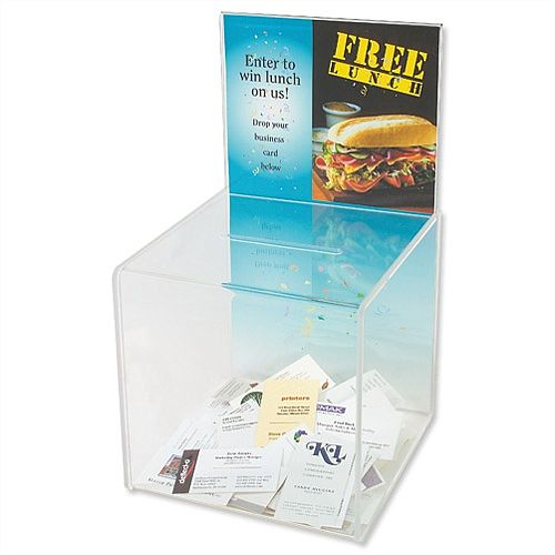 Business Card Collection Box With Sign Holder Clear DE66001