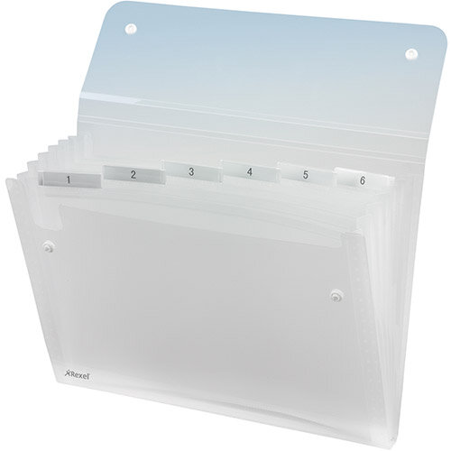 Expanding Files A4 Clear Durable Plastic With Tabs 6 Pockets Rexel Ice - Holds Up To 150 A4 Sized Sheets, Contains Index Cards For Customization &Secure Popper Fasteners To Hold Everything Securely In Place. Ideal For Schools, Colleges, Offices &More.