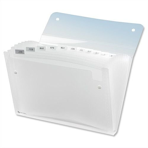 Expanding Files A4 Clear Durable Plastic with Tabs 13 Pockets Rexel Ice