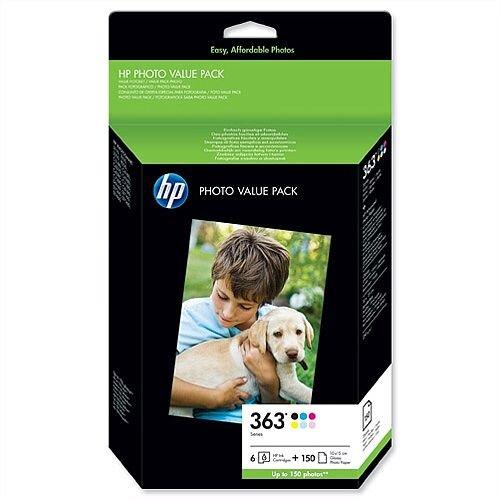 HP 363 Photo Value Pack 6 Colour Cartridges Photo Paper 150 Sheets Q7966EE