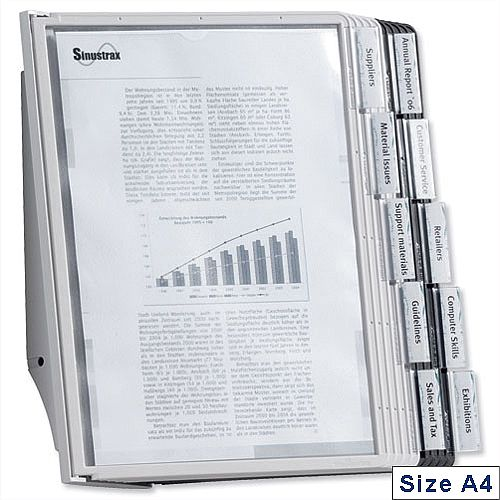 Durable Sherpa A4 Display Wall Unit with 10 Tabs. 5 Black and 5 Grey Panels. Wall Mounting Bracket &Instructions Included. Ideal For Reception Areas, Offices, Waiting Rooms &More.