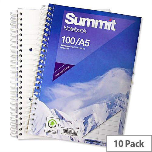 A5 Wirebound Notebook Punched Perforated 100 Pages Pack 10 Summit