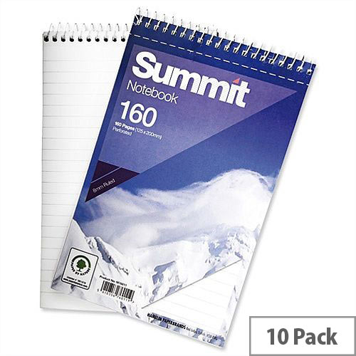 Wirebound Notebook Headbound Ruled 160 Pages 125x200mm Pack 10 Summit