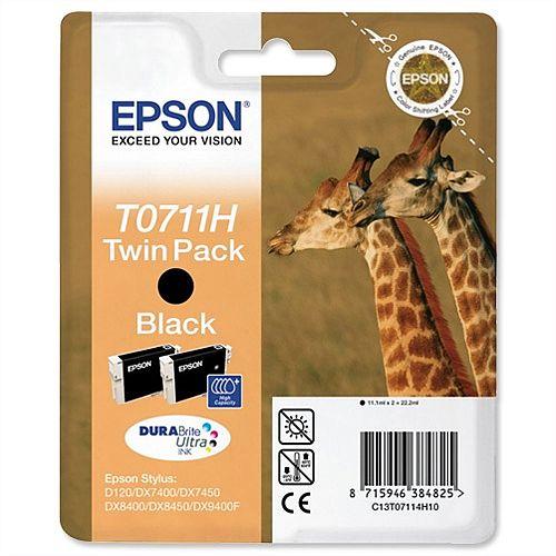 Epson Giraffe T0711H Black Ink Cartridge Twin Pack