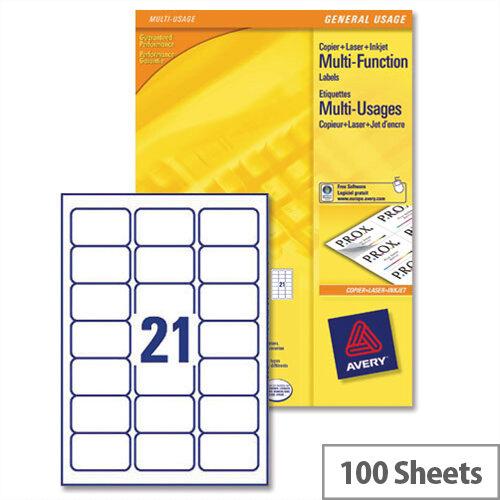 Avery 21 Per Sheet Multifunction Labels 70 X 42.3mm (2100