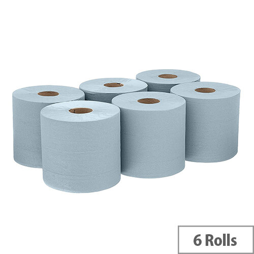 Kimberly-Clark Wypall L10 Wipers Tissues Refill Paper Rolls Centrefeed Airflex 525 Sheets per Roll 185x380mm Blue (Pack 6)