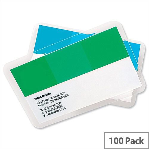 GBC Business Card Laminating Pouches - 60mm x 90mm, Adheres To ID Images Reducing Forgery &Substitution Risk, Supplied In Pack Of 100. Ideal For Use In Offices, Homes, Schools &More.