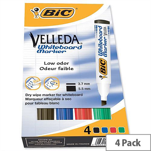 Bic Velleda Whiteboard Marker Chisel Tip Assorted Colours Pack 4