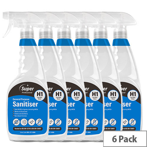 H1 General Purpose Surface Sanitiser 750ml Pack of 6