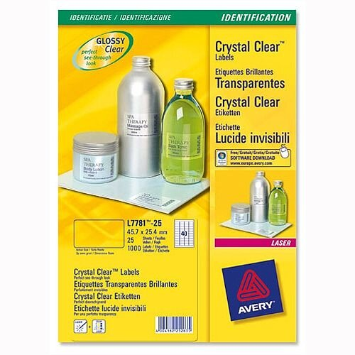 Avery 1 Per Sheet Crystal Clear Labels (25 Labels)