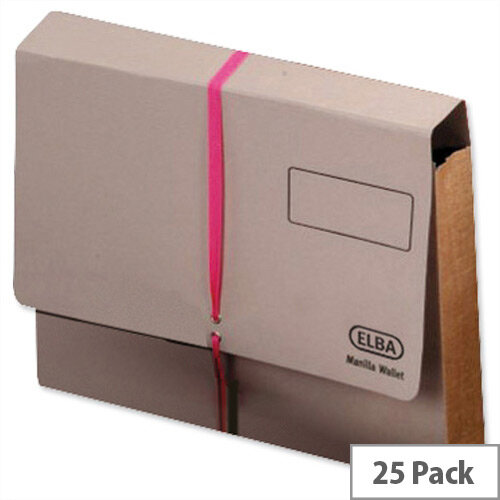 Elba Legal Deed Wallet Manilla Foolscap Buff with Pink Ribbon Pack of 25