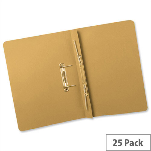 Transfer Spring Files Heavyweight Foolscap Yellow Capacity 38mm Pack 25 Guildhall