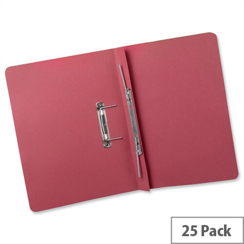 Transfer Spring Files Heavyweight Foolscap Red Capacity 38mm Pack 25 Guildhall