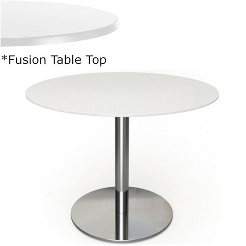 Frovi FLAT Round Canteen Table With Brushed Stainless Steel Base &Fusion Top Dia600xH730mm - Ultra tough Laminated Surface For Indoor &Outdoor use - Available Colour Finishes: Dusky White (WH) &Steel Effect (S)