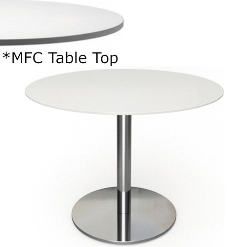 Frovi FLAT Round Canteen Table With Brushed Stainless Steel Base &MFC Top Dia600xH730mm - Minimalist Design MFC Melamine Surface