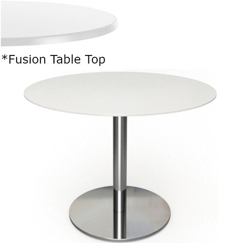 Frovi FLAT Round Canteen Table With Brushed Stainless Steel Base &Fusion Top Dia800xH730mm - Ultra tough Laminated Surface For Indoor &Outdoor use - Available Colour Finishes: Dusky White (WH) &Steel Effect (S)