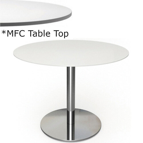 Frovi FLAT Round Canteen Table With Brushed Stainless Steel Base &MFC Top Dia800xH730mm - Minimalist Design MFC Melamine Surface