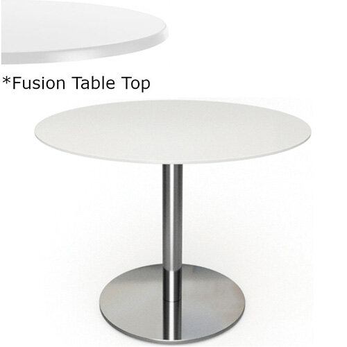 Frovi FLAT Round Canteen Table With Brushed Stainless Steel Base &Fusion Top Dia900xH730mm - Ultra tough Laminated Surface For Indoor &Outdoor use - Available Colour Finishes: Dusky White (WH) &Steel Effect (S)