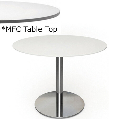 Frovi FLAT Round Canteen Table With Brushed Stainless Steel Base &MFC Top Dia900xH730mm - Minimalist Design MFC Melamine Surface