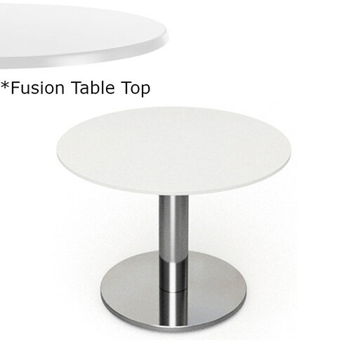 Frovi FLAT Round Coffee Table With Brushed Stainless Steel Base &Fusion Top Dia600xH420mm - Ultra tough Laminated Surface For Indoor &Outdoor use - Available Colour Finishes: Dusky White (WH) &Steel Effect (S)