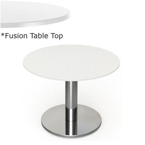 Frovi FLAT Round Coffee Table With Brushed Stainless Steel Base &Fusion Top Dia800xH420mm - Ultra tough Laminated Surface For Indoor &Outdoor use - Available Colour Finishes: Dusky White (WH) &Steel Effect (S)