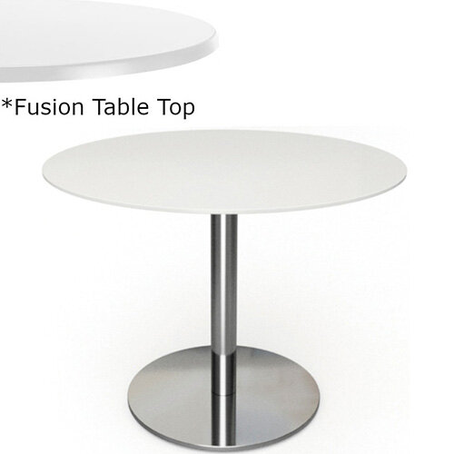 Frovi FLAT Round Canteen Table With Brushed Stainless Steel Base &Fusion Top Dia1000xH730mm - Ultra tough Laminated Surface For Indoor &Outdoor use - Available Colour Finishes: Dusky White (WH) &Steel Effect (S)