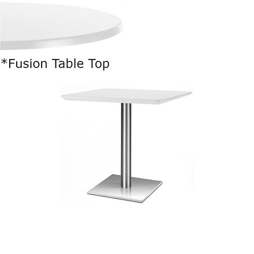 Frovi FLAT Square Canteen Table With Brushed Stainless Steel Base &Fusion Top W600xD600xH730mm - Ultra tough Laminated Surface For Indoor &Outdoor use - Available Colour Finishes: Dusky White (WH) &Steel Effect (S)